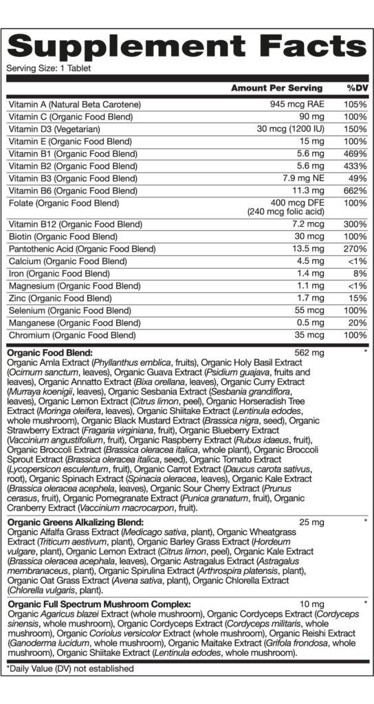 Vitamin và khoáng chất hữu cơ Kirkland Signature USDA Organic Multivitamin 80 viên